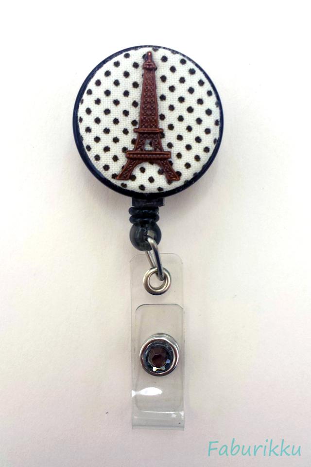 Polkadot Eiffel White Clip-On Badge Reel