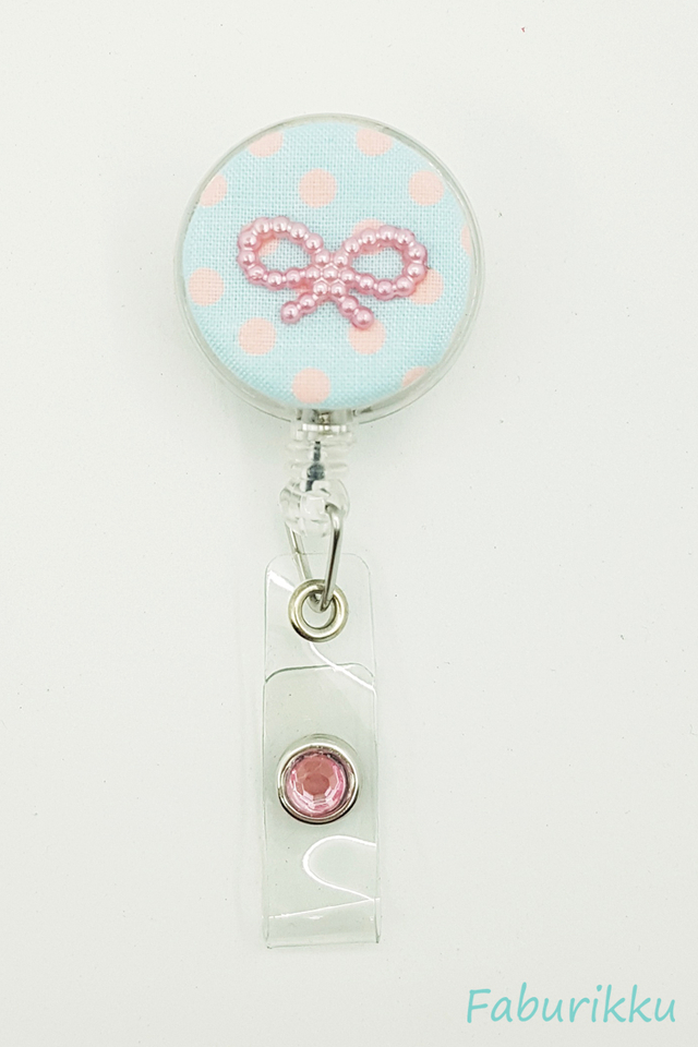 Polkadot Ribbon BluePink Clip-On Badge Reel