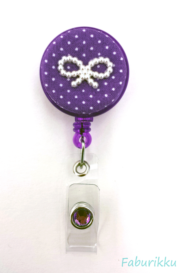 Polkadot Ribbon DarkPurple Clip-On Badge Reel