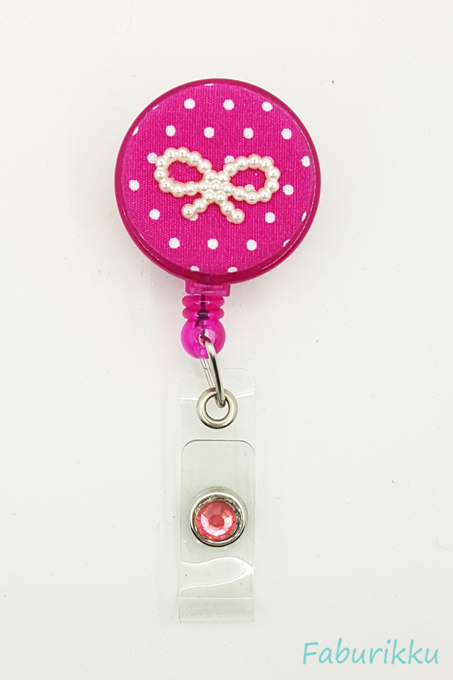 Polkadot Ribbon Magenta Clip-On Badge Reel