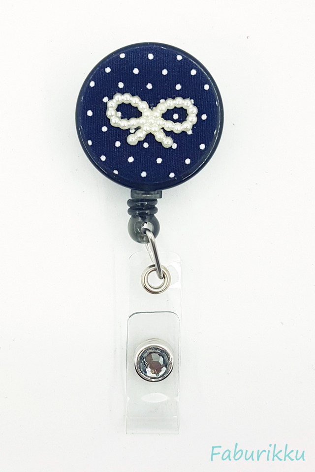 Polkadot Ribbon Navy Clip-On Badge Reel