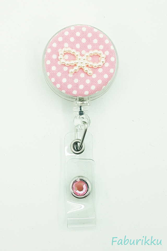 Polkadot Ribbon Pink Clip-On Badge Reel