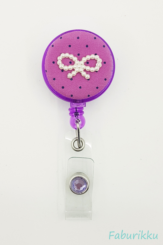 Polkadot Ribbon Purple Clip-On Badge Reel
