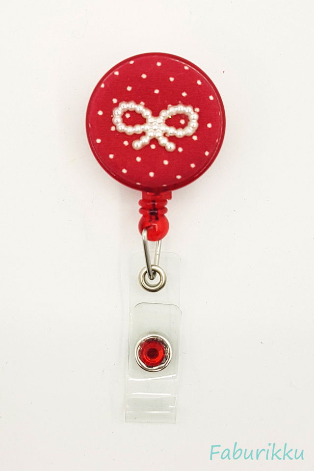 Polkadot Ribbon Red Clip-On Badge Reel