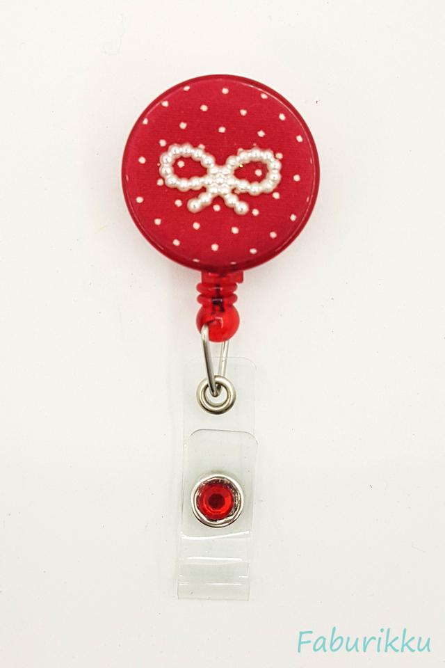 Polkadot Ribbon Red Clip-On Badge Reel