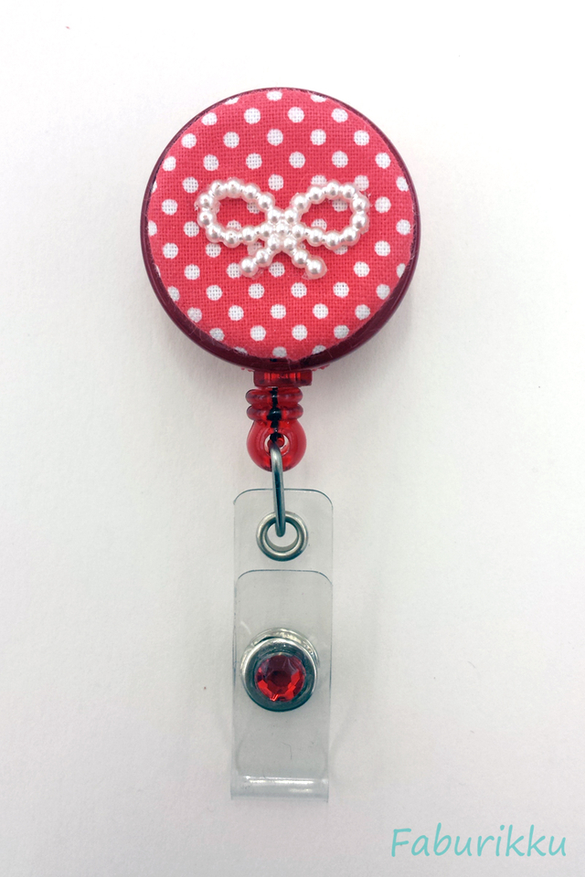 Polkadot Ribbon Salmon Clip-On Badge Reel