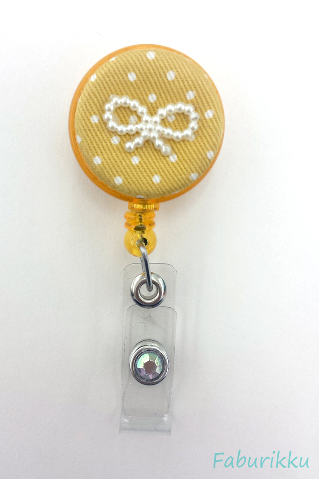 Polkadot Ribbon Yellow Clip-On Badge Reel