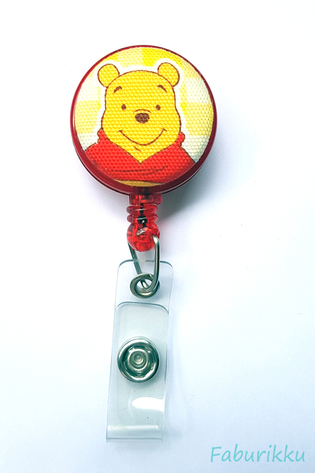Pooh Red Head Clip-On Badge Reel