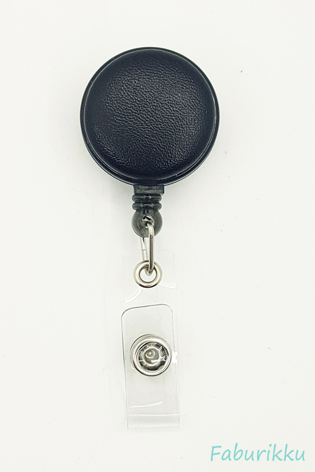 PU Leather Black Clip-On Badge Reel