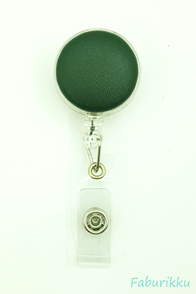 PU Leather Olive Clip-On Badge Reel