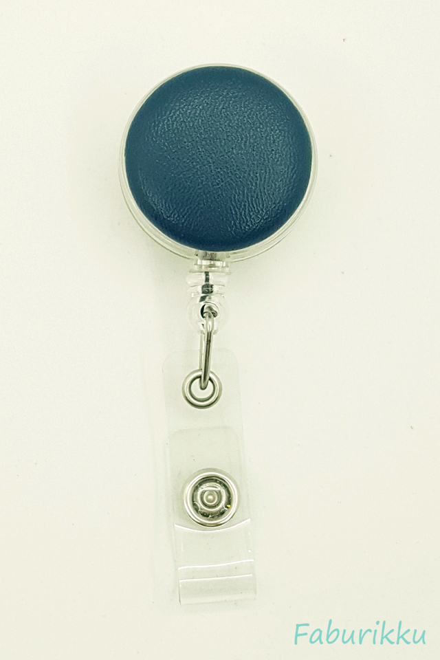 PU Leather Teal Clip-On Badge Reel