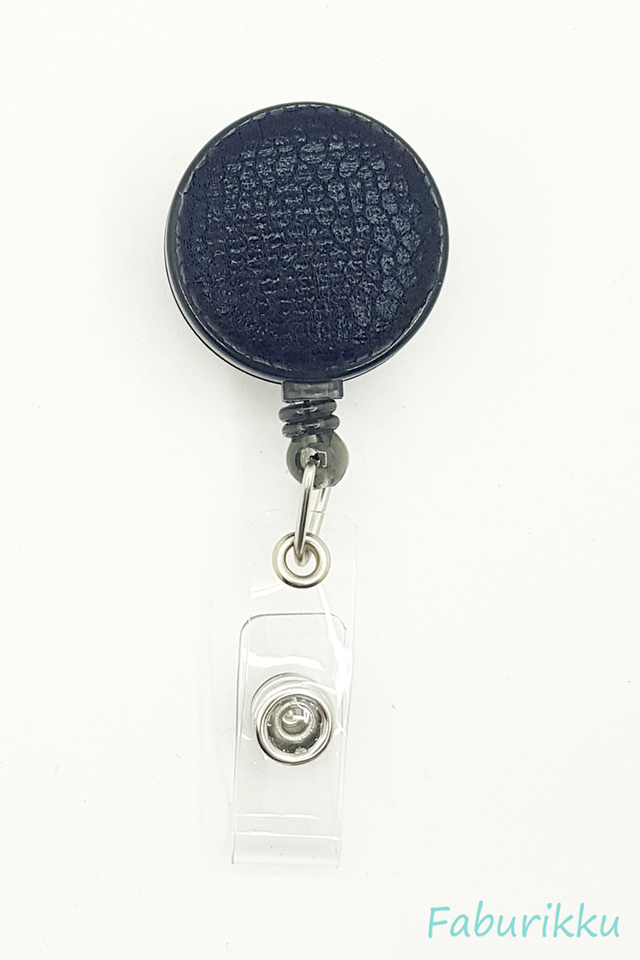 PU Leather Texture Black Clip-On Badge Reel