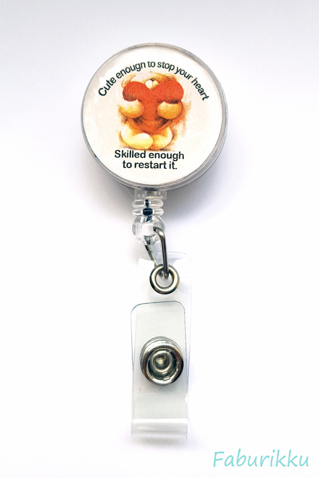 Quotes Nurse Bear Clip-On Badge Reel