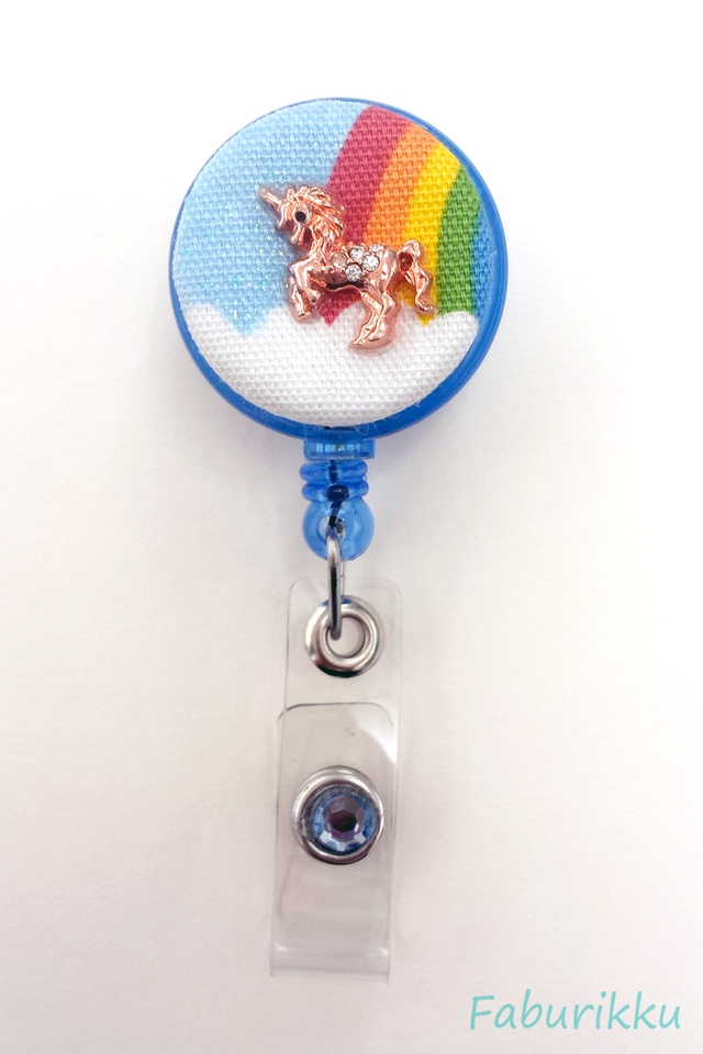 Rainbow Unicorn Blue Clip-On Badge Reel