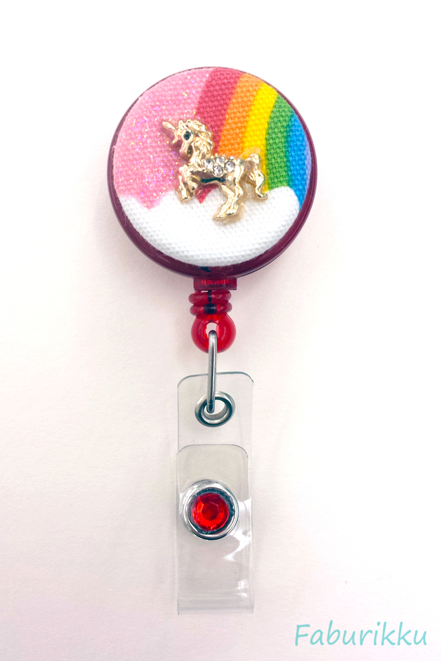 Rainbow Unicorn Red Clip-On Badge Reel