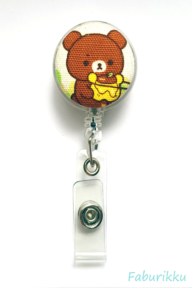 Rilakkuma Clear Pot Clip-On Badge Reel