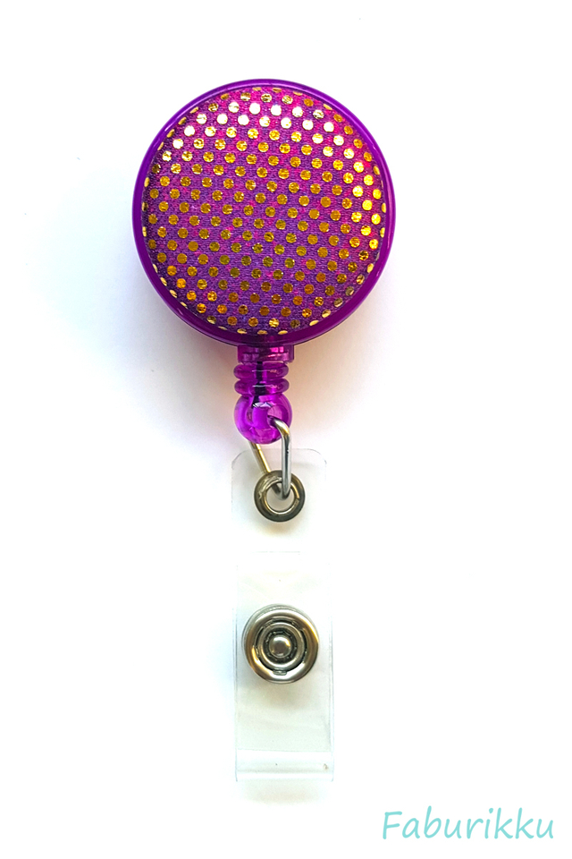 Shiny Dots Purple Clip-On Badge Reel