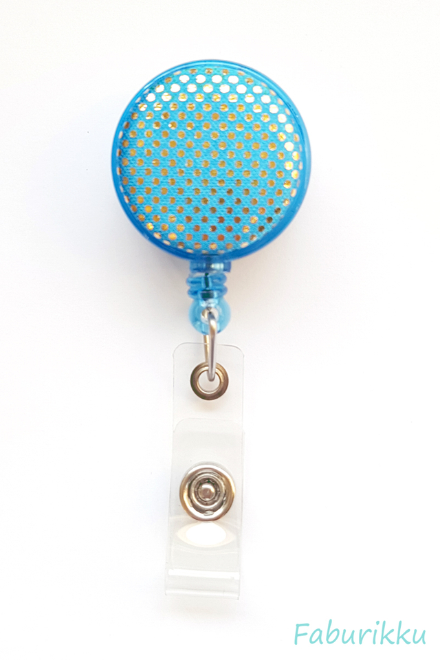 Shiny Dots Turquoise Clip-On Badge Reel