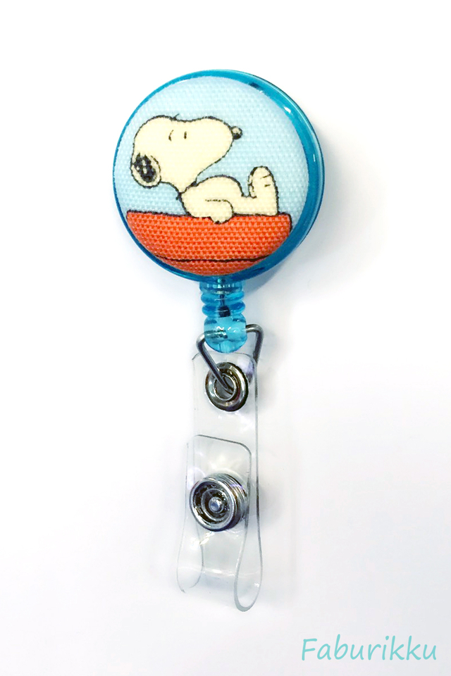 Snoopy Turquoise Roof Clip-On Badge Reel