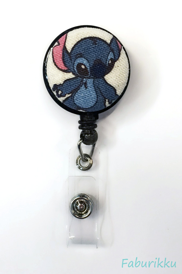 Stitch Black Canvas Clip-On Badge Reel