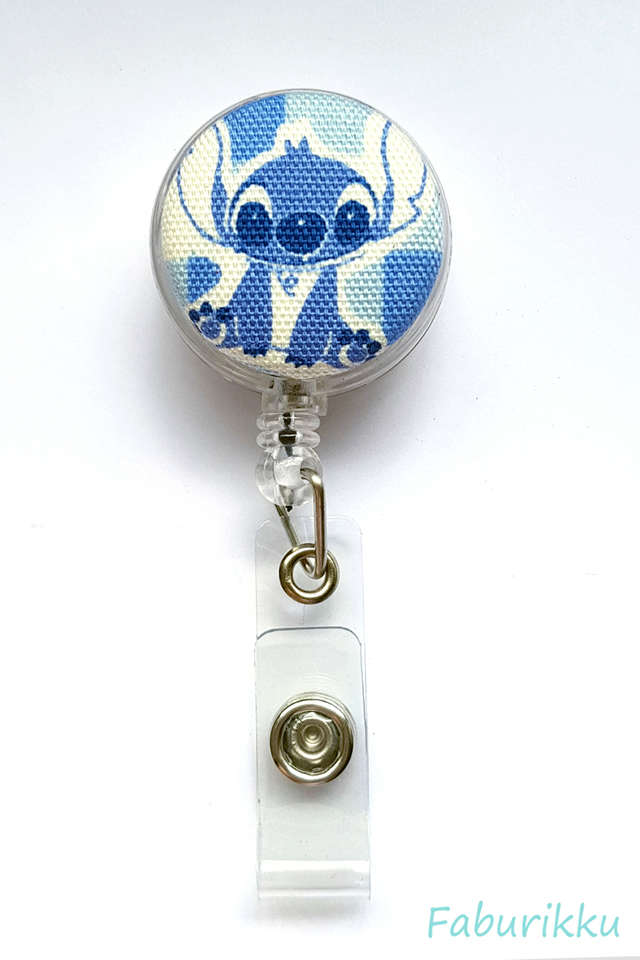 Stitch Blue Checks Clip-On Badge Reel