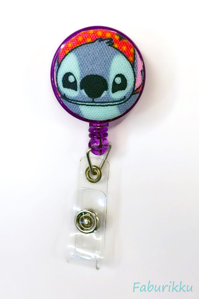 Stitch Purple Head Clip-On Badge Reel