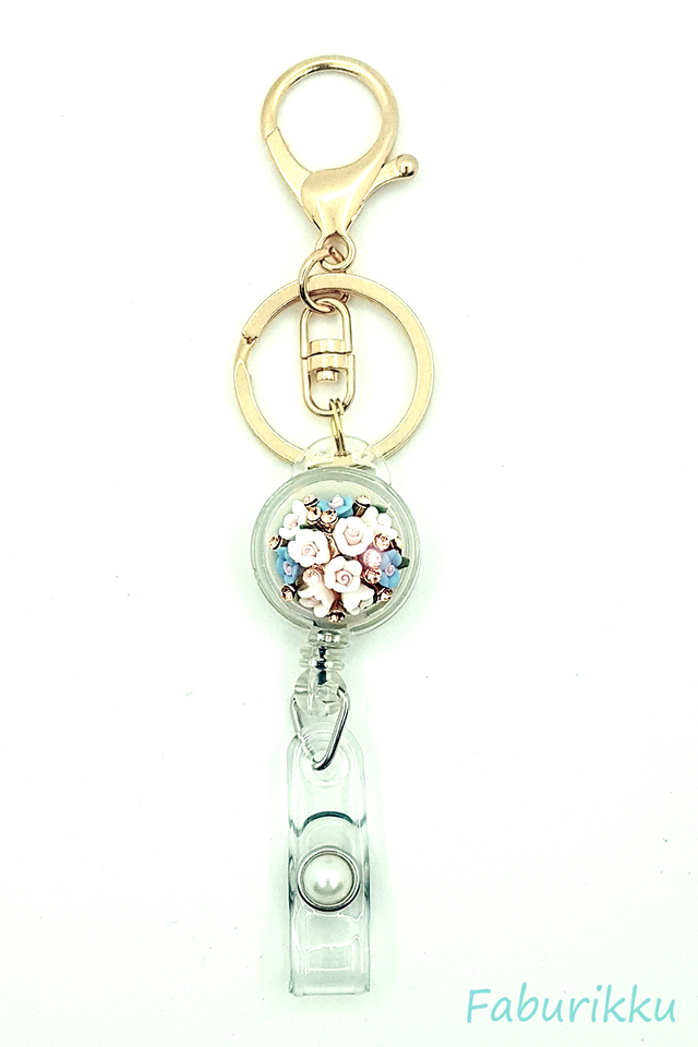 White Blue Bouquet Hook On Badge Reel