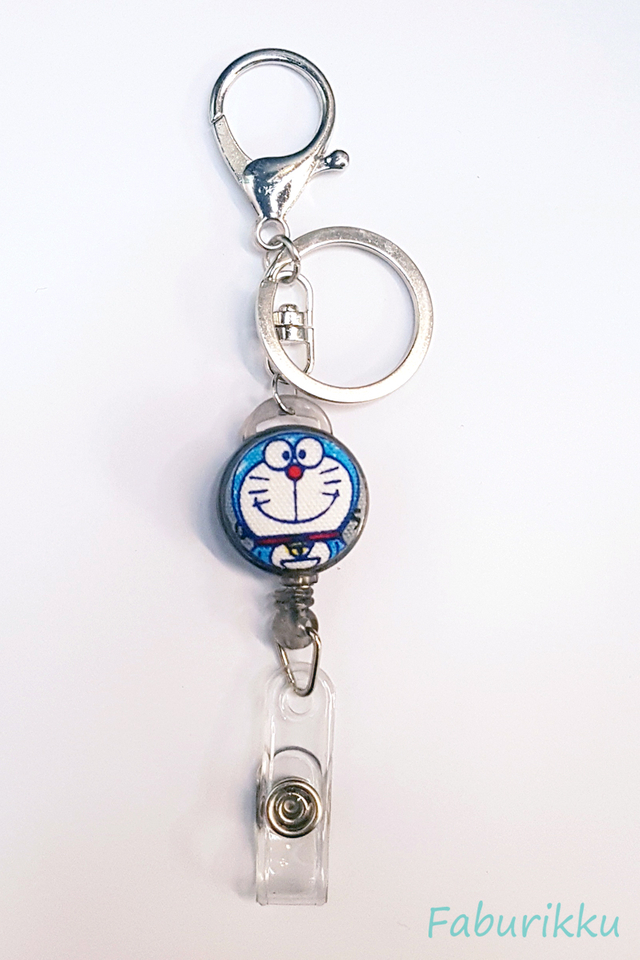Doraemon FullBlack Hook-On Badge Reel