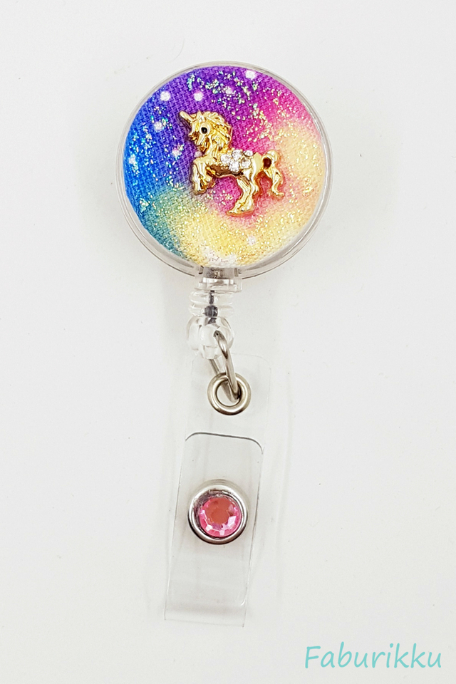 Galaxy Unicorn Colour Clear Clip-On Badge Reel