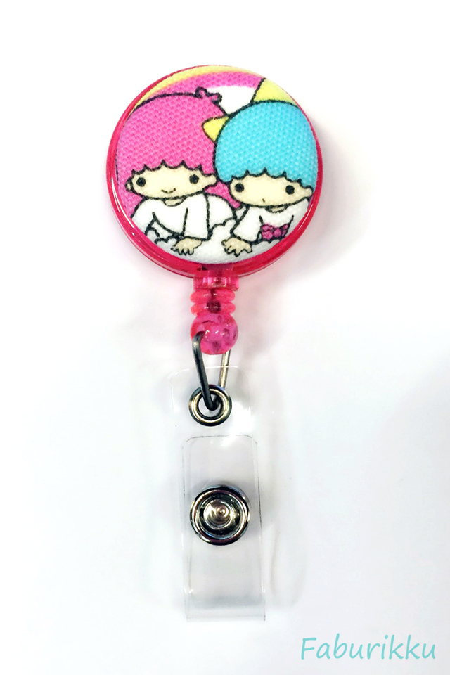 Twin Star Pink Rainbow Clip-On Badge Reel