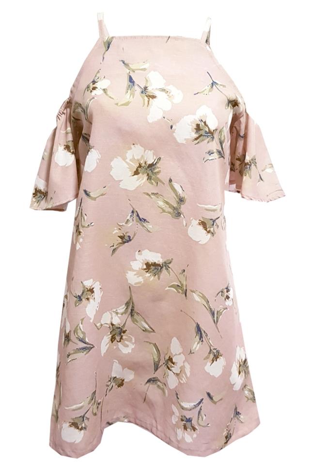Elis Floral Cold Shoulder Dress Dusty Pink