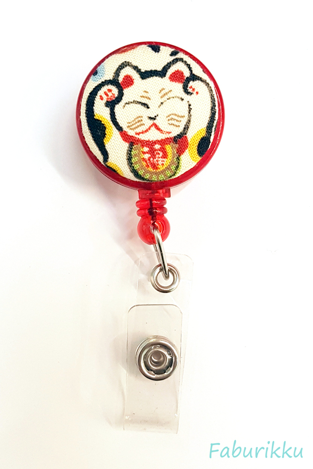 Auspicious Kitty Full Red Clip-On Badge Reel