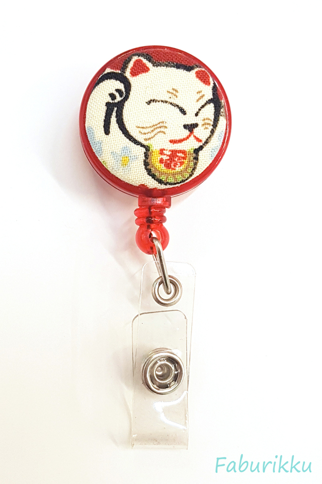Auspicious Kitty Head Red Clip-On Badge Reel