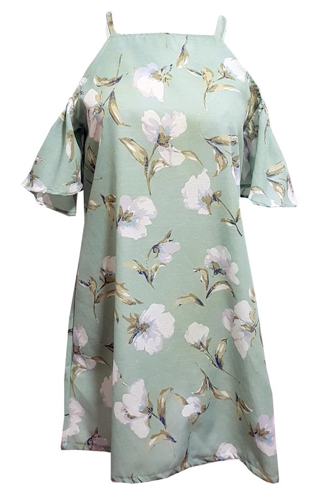 Elis Floral Cold Shoulder Dress Mint