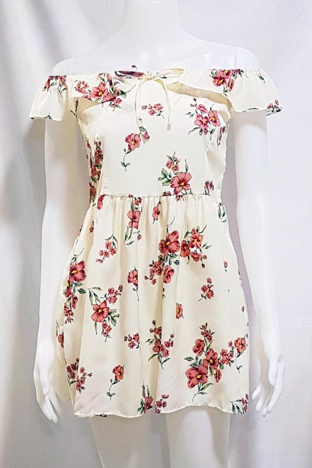Fleur Ruffle Dress Cream