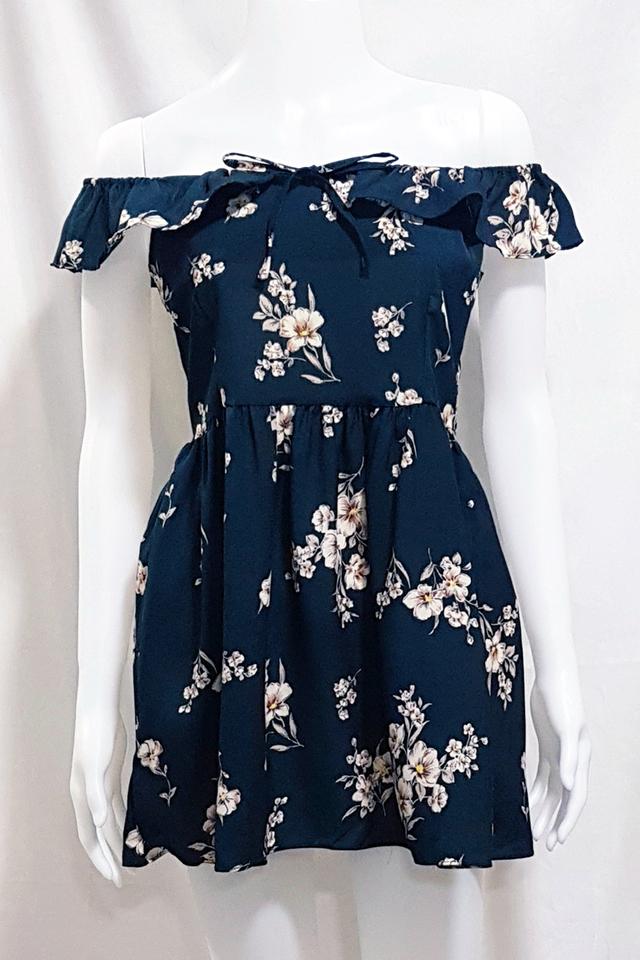 Fleur Ruffle Dress Teal