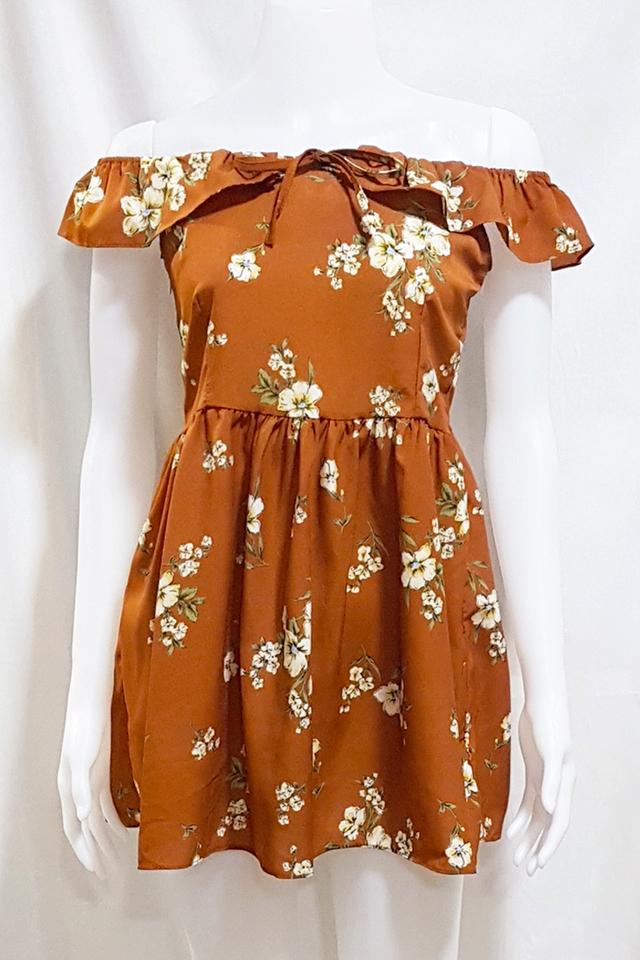 Fleur Ruffle Dress Terracotta