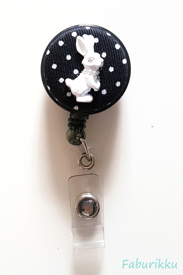 Bunny Polkadot Black Clip-On Badge Reel