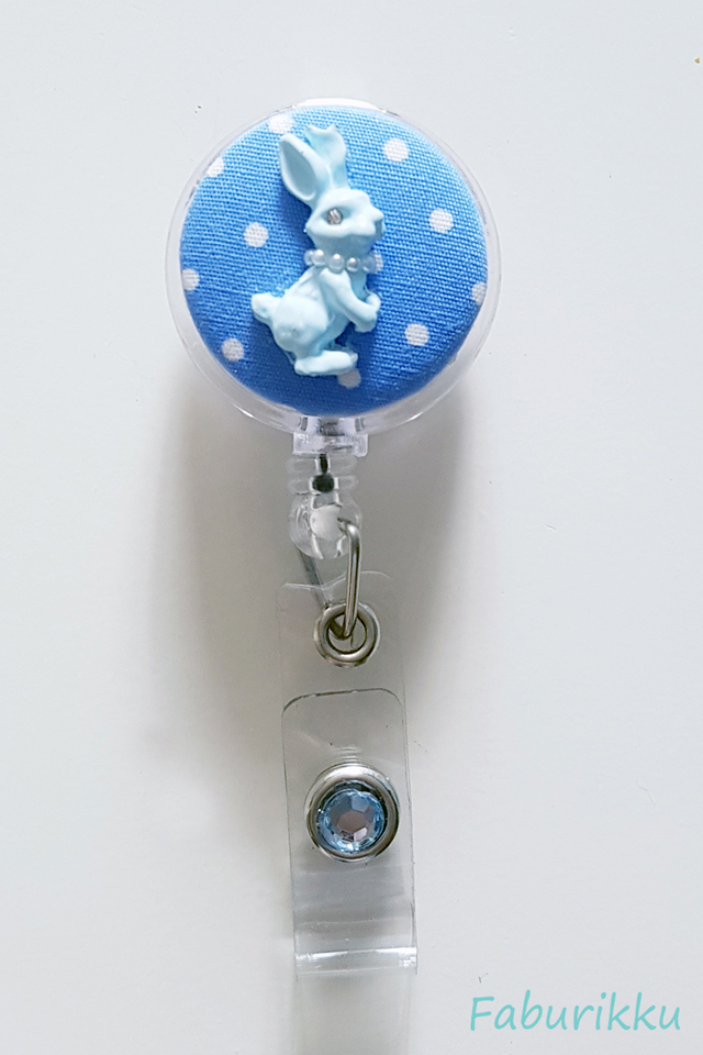 Bunny Polkadot Blue Clip-On Badge Reel