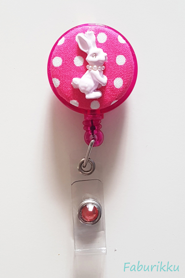 Bunny Polkadot DkPink Clip-On Badge Reel
