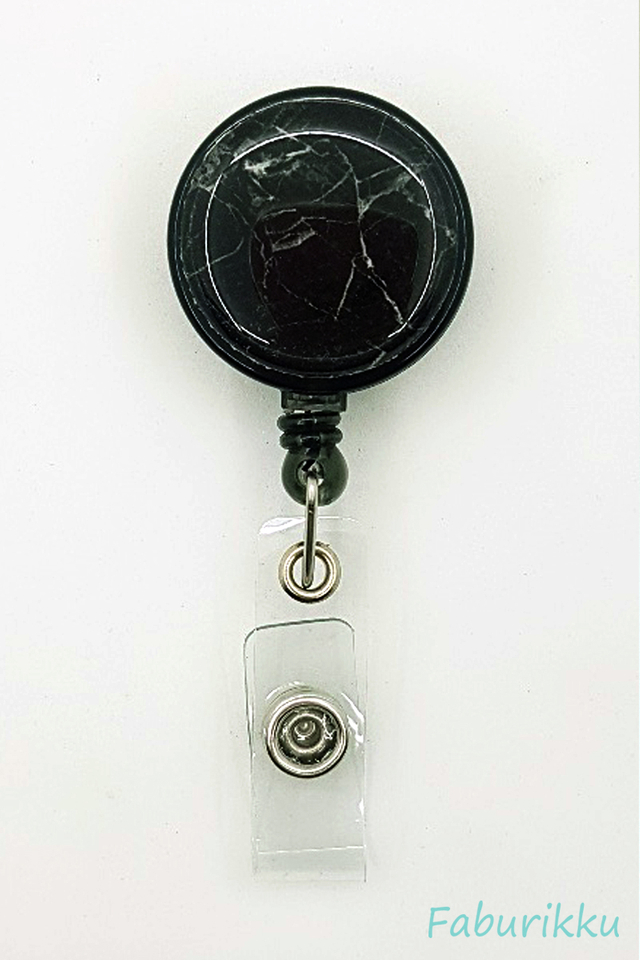 Marble Print Black  Clip-On Badge Reel