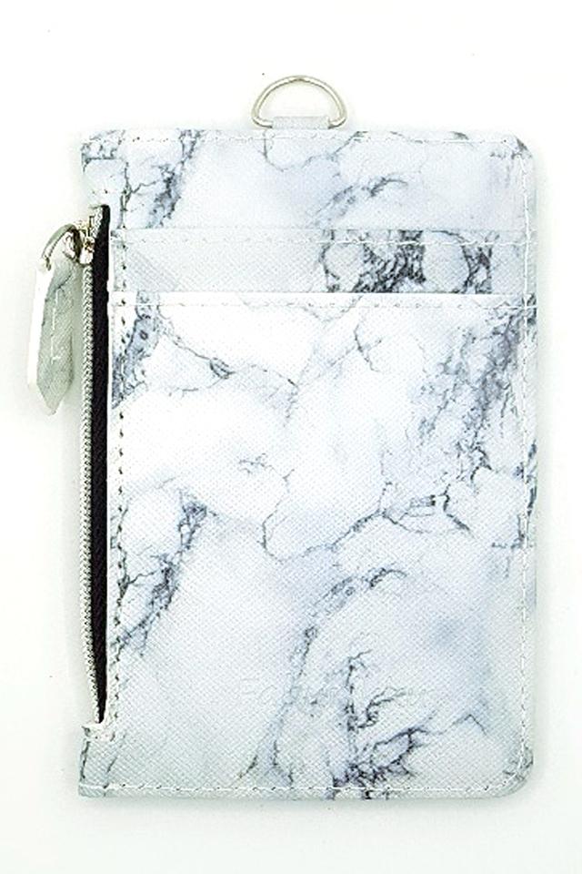 White Marble Zip Premium Cardholder Portrait