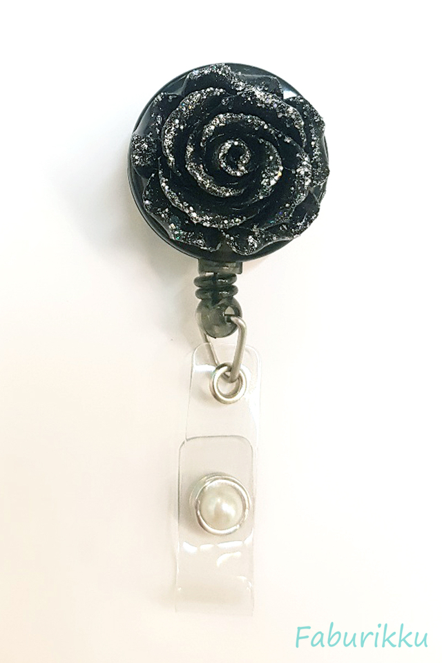 3D Rose Black Clip-On Badge Reel