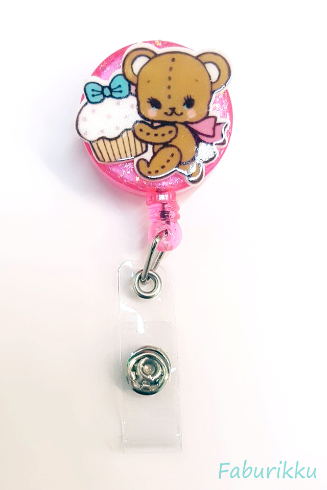 3D Teddy Pink Clip-On Badge Reel