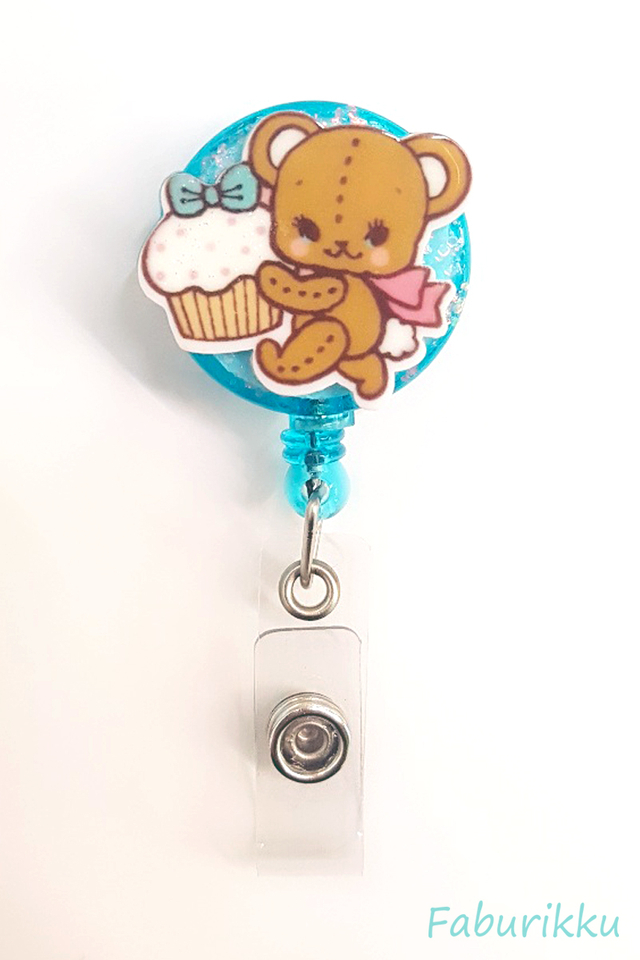 3D Teddy Turquoise Clip-On Badge Reel