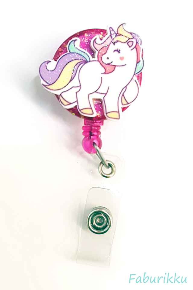 3D Unicorn Full Magenta Clip-On Badge Reel