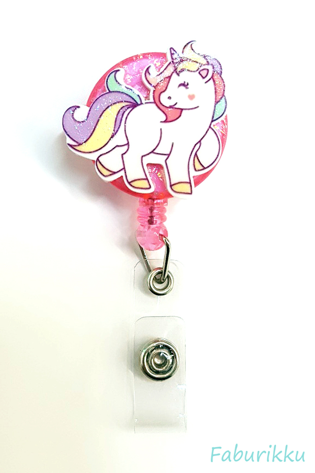 3D Unicorn Full Pink Clip-On Badge Reel