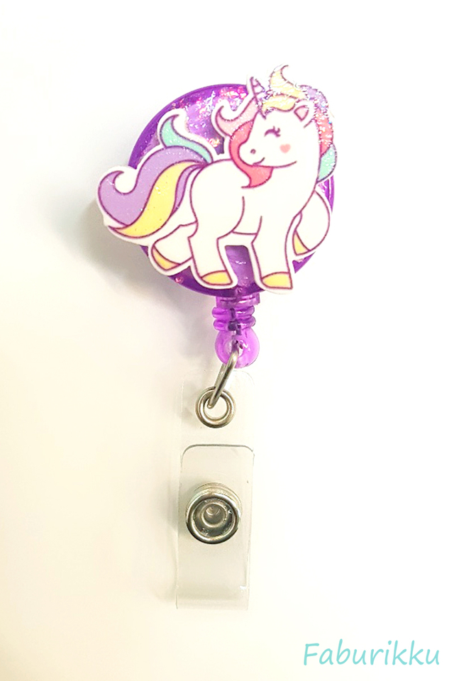 3D Unicorn Full Purple Clip-On Badge Reel