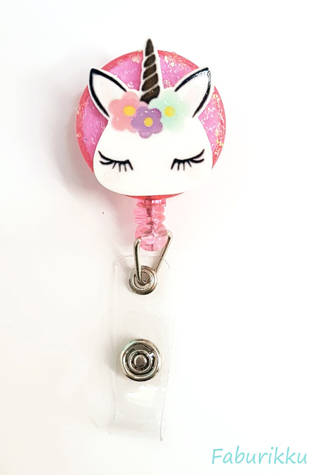 3D Unicorn Head Pink Clip-On Badge Reel