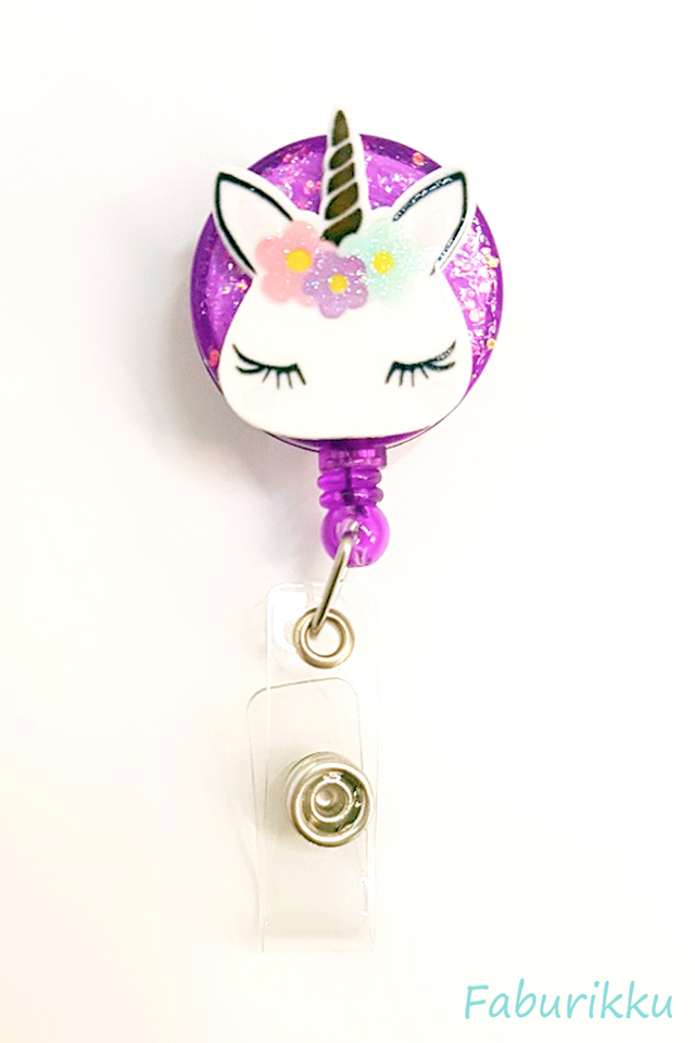 3D Unicorn Head Purple Clip-On Badge Reel